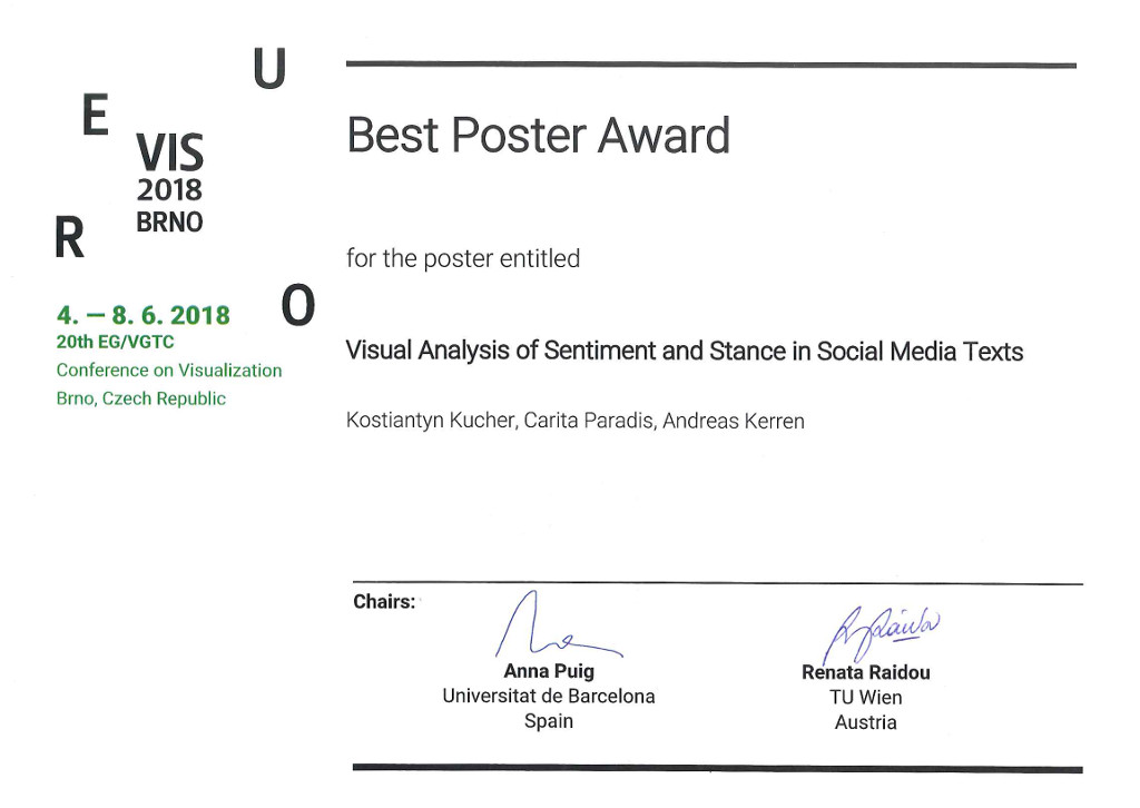 Best Poster Award at EuroVis 2018